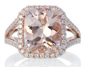 14K Rose Gold Custom 11x9 Cushion Cut Diamond Halo Split Shank Alternative Wedding Anniversary Gemstone Morganite Engagement Ring