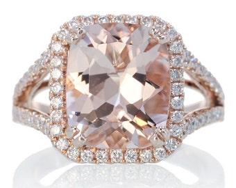14K Rose Gold Custom 11x9 Cushion Cut Diamond Halo Split Shank Alternative Wedding Anniversary Gemstone Morganite Engagement Ring