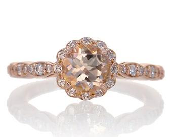 14K Morganite Engagement Ring Rose Gold 6mm Alternative Custom Bridal Wedding Gemstone Jewelry Diamond Halo Floral Design Ring