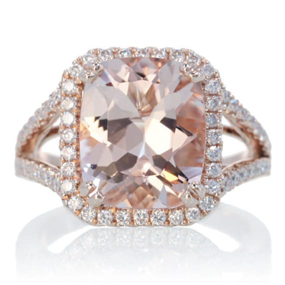 14K Rose Gold Custom 11x9 Cushion Cut Diamond Halo Split Shank