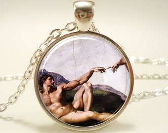 The Creation of Adam Necklace, Michelangelo Art Pendant, Sistine Chapel (1173S1IN)
