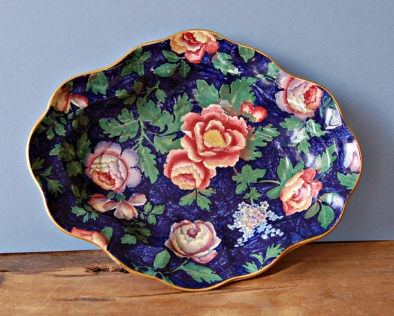 Edwardian Booths Blue floral plate or platter in Peony & Lilac pattern