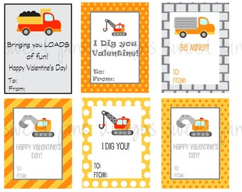 Construction Valentine's- Printable Kid's Valentine's
