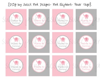 Pink Elephant Party- Favor Tags