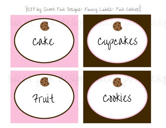 Printable Fancy Labels Pink Milk And Cookies Collection