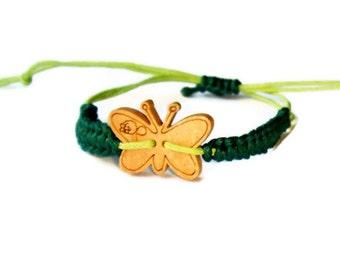 Butterfly Bracelet,Baby bracelet,Green butterfly,Hemp wish bracelet, brown wood bead,Simple Friendship,Mommy and Me,Ecofriendly jewelry