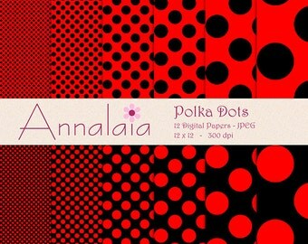 Digital Paper Instant Download Black Red Polka Dots Scrapbook Paper 12x12 8,5x11 Ladybug Paper Commercial Use 028