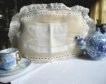 Antique Lace Teacozy - Hand Crocheted Filet Lace - Crocheted Teacup Pattern - English Filet Crochet Cozy - Tea Shop Accessory - Theater Prop
