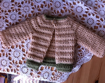 Beige Crochet Baby Sweater with Sage Accents, size 0-3 months.