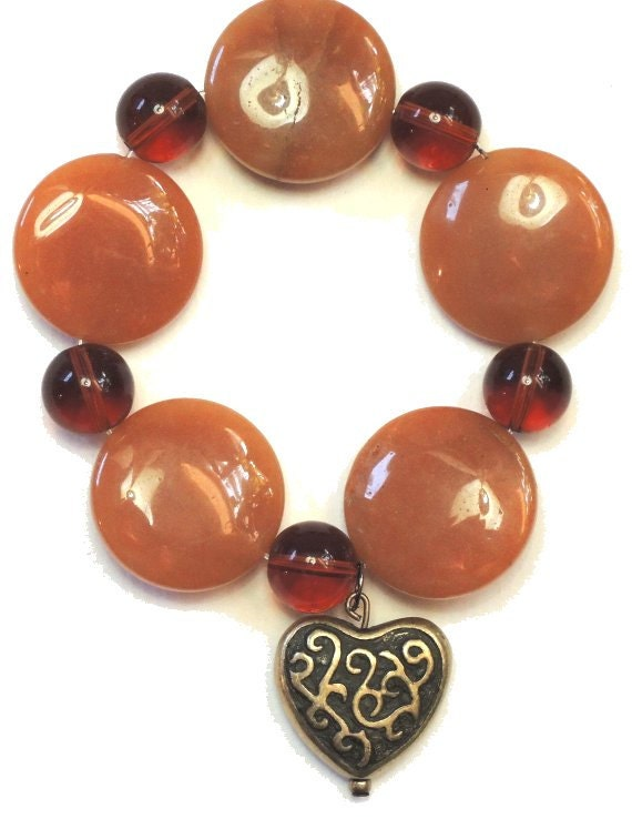 Agate and Amber Glass Stretch Bracelet