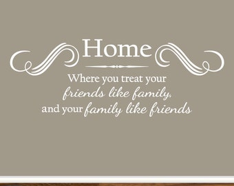 Wall Art Decal Decor Home is Where You Treat Your Friends Like Family and Your Family Like Friends Kitchen Dining Room Living Room Entryway
