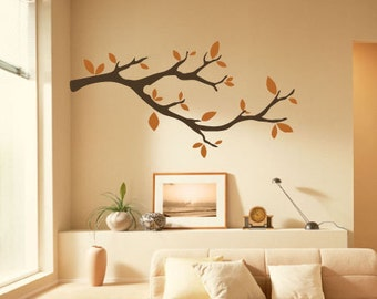 "60"" Tree Branch Vinyl Wall Decal Sticker Leaves Modern Contemporary Nursery Living Room Bedroom Baby Whimsical"