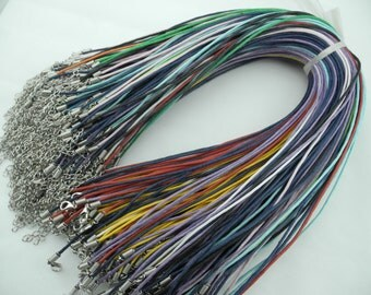 100pcs 17'' Mixed Colors Waxed Cotton Cord Necklace With Lobster Clasp&5cm Extension Chain size 1.5mm