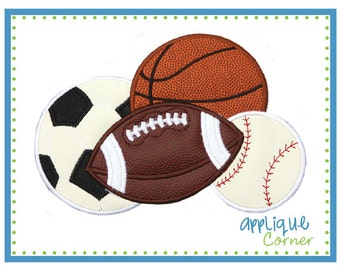 Sport Balls, soccer, football, basketball and baseball applique digital design for embroidery machine by Applique Corner