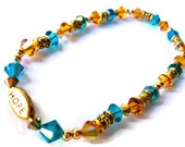 Swarovski Anklet, Ankle Bracelet, Hope, Turquoise and Gold, Beach Jewelry, Summer Jewelry