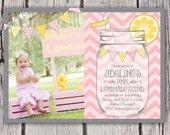 Pink Lemonade Stand Invitation - Mason Jar Chevron Bunting Lemonade Stand - Birthday Party Invite - Lemonade Photo Invitation - Girls Pink