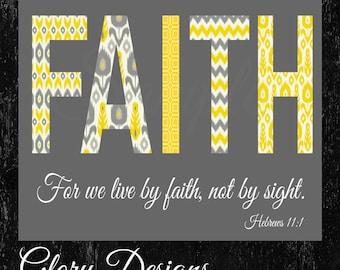 Instant download, Faith based art, Scripture Art bible verse, Faith, Hebrews 11:1, Ikat, Printable