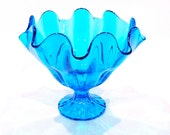Vibrant Mid Century Viking Turquoise Glass Compote with Fluted Edge