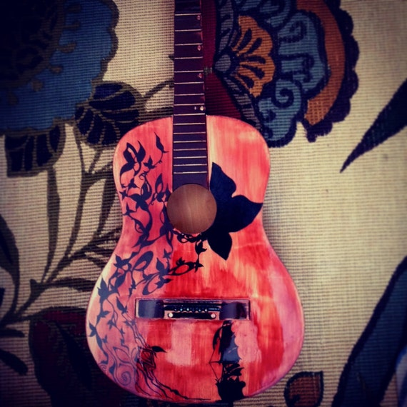 Acoustic And Electric Designs: Items Similar To Acoustic Guitar, Art And Design Custom