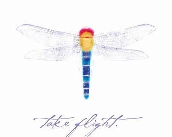 "Dragonfly ""Take Flight"" canvas print on wooden block 6 x 6 x 1.5"