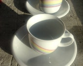 Pair of mini teacups from Kahla Tonika pastel rainbow made in GDR free shipping internationally