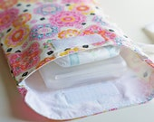 SALE Diaper & Wipes Wristlet / Diaper Pouch / Diaper Clutch - Floral Medallions in Pink