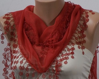 RED Scarf with fringe. Spring and Summer Scarf with fringe. Valentine Scarf. ON SALE.