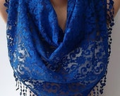 Lace scarf cobalt blue scarf shawl triangle scarf - womann