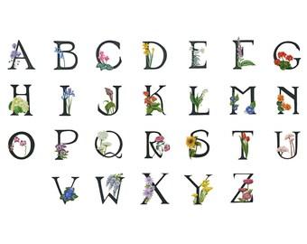 Floral Alphabet, 11x17 Flower Names print A-Z white background
