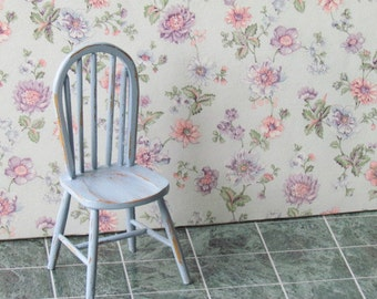Dollhouse Chair Windsor Chair Shabby Chic  Blue Handcrafted  12th Scale