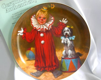 Sale| Porcelain Collectors Plate Tommy the Clown - Signed KNOWLES - COA - Vintage 1981 and 1982