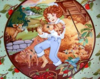 Once Upon a Rhyme Series - Tom, Tom the Pipers Son - Porcelain Collector Plate - Heinrich VILLERY & BOCH -Vintage 1984