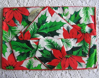 Cloth Poinsettia Placemats & Napkins, Red Green Christmas Holiday Linens, Tabletop