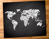 World Word Map on Chalkboard Background, Quote Map Print, Canvas World Map, Chalkboard Map, Home Decor Canvas, Typography, World Map Stencil