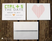 Geek Pixel Save the Date - Custom Printed Flat Cards - Geeky, Nerdy, Binary