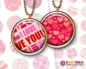 VALENTINE PATTERNS 1 inch, 1.5 inch, 7/8 inch Printable digital download images for Round pendants Bezel trays Bottle caps Glass cabochons