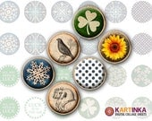 MIXED UP Studs - 18mm, 15mm & 13mm size images Printable Download for Earrings, Cuff links, Pendants, Crafts, Rings, Bottle Caps, Bracelets