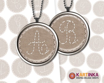 LETTERS on CANVAS ABC Alphabet 1 inch & 1.5 inch Images for Resin pendants Bottle caps Bezel cabs Mountings cameo settings Glass cabochons