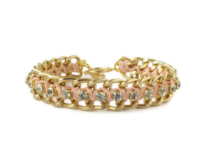 Light Peach Woven Chain & Rhinestone Bracelet