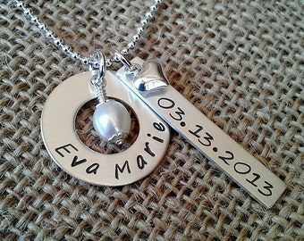 Grandma Necklace,  New Mom Necklace,  Mom Necklace, Sterling Silver, Kids Names Necklace