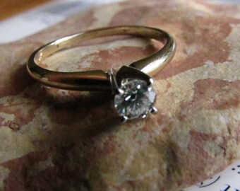 Simple Diamond Engagement Ring : Solitaire Diamond Vintage Engagement Ring, Two Tone Gold Diamond Wedding Band, Size 7