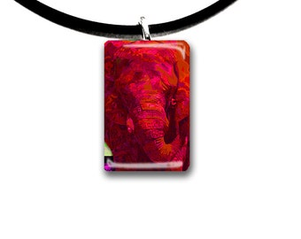 Red, Elephant pendant, hand painted unique artwork, Glass tile pendant, red and black