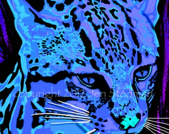 black light blue and purple colors ocelot cat art print wild animal artwork