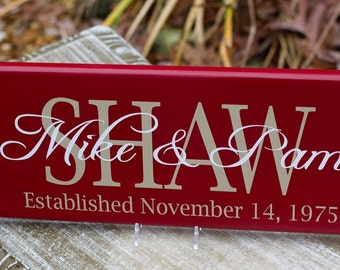 Estabalished Date, Family Name Sign. Perfect for Wedding Gifts, Bridal Shower or Anniversary