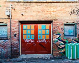Rainbow Door Street Art Urban Photography Asheville NC Doors in Chicken & Moon Mural Asheville NC Urban Photography 5 Walnut Wine Bar