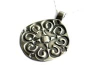 Rustic Round Swirly Silver Necklace