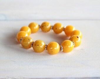 Mustard Yellow Stretch  Bead Bracelet,strechable Bracelet