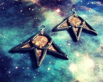 Cosmic hexagon star earrings