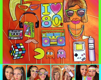 Eighties photo booth props - perfect for a throw back 80s theme party or a crazy retro themed rockstar event