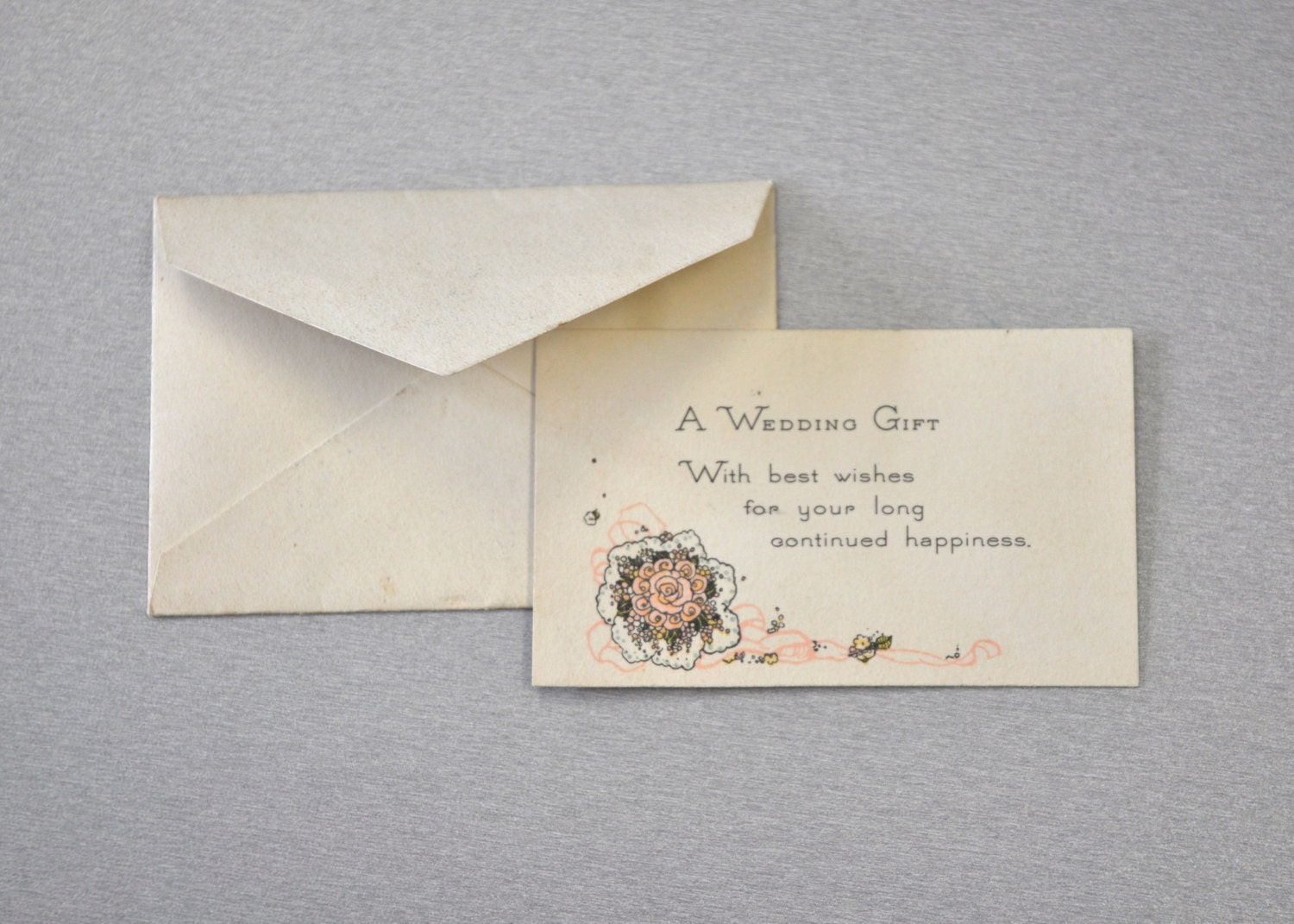 Received Wedding Gift Without Card : Tiny Vintage Wedding Gift Card with Envelope